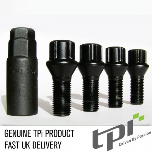14x1.25 40mm Tapered 17/19 Hex TPi Black Eco locks Bolt