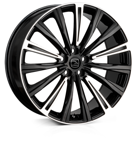 Hawke Chayton 22 inch wheel finished in Black Polish; drilled to 5-108 stud pattern