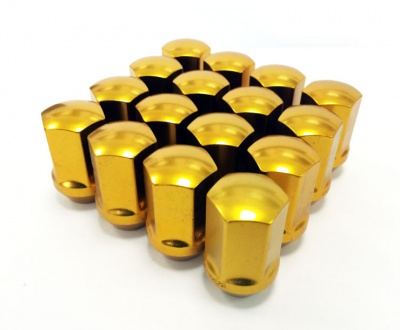 (Set of 10) 12X1.50 19Hex 35mm TPi Xr Alloy Racing Nut Gold