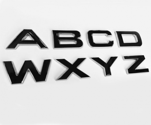 Range Rover Size 3D Chrome With Black Infill Bonnet Or Boot/Tailgate Letters - Single Letters Of The Alphabet