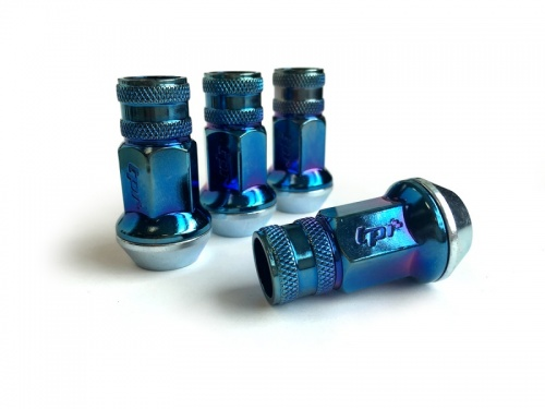 Bundle of 4 Packs (Total 16) 12X1.25 17Hex 45mm TPi Knurled Blue Titanium Race Nut (packs of four)