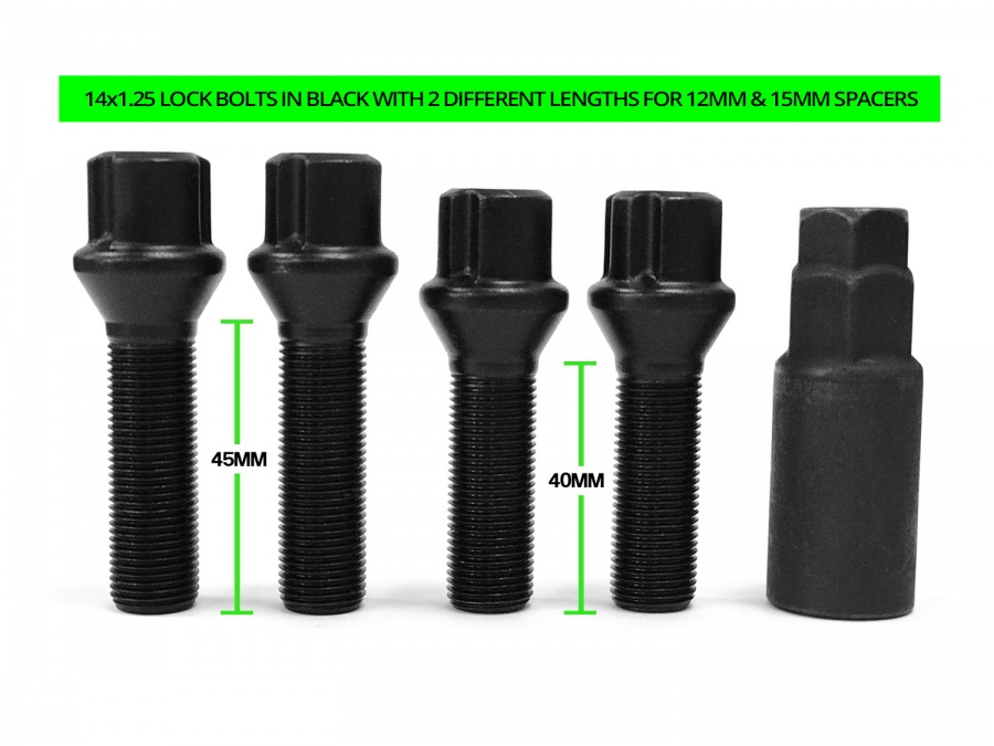 BMW & MINI 14x1.25 Tapered TPi Black Eco lock bolts in 2 lengths (40mm x2 and 45mm x 2) for use with 12mm & 15mm spacer kits