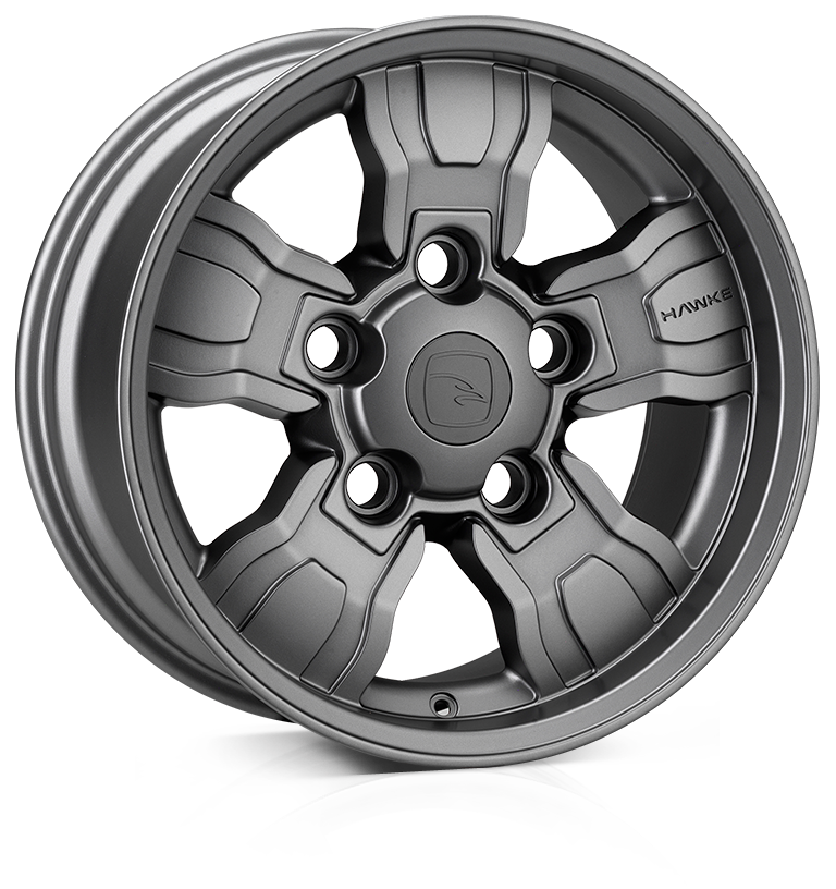 HAWKE Osprey WT Alloy Wheels 18 inch 5x165 (ET25) | Matt Gunmetal x 4 | fits Land Rover Defender models