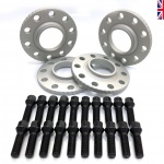 Sixonetwo Matt Silver BMW Spacer 5-120 15mm 72.6 2 x Pairs Inc 20 Black Bolts