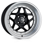 Junk Eighty-six wheels 16 x 8.0 & 9.0J 4-100 | Matt Black lip Polish 2 fronts & 2 wider rears [staggered]