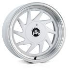 Junk Dreg wheels 16 x 8.0 & 9.0J 4-100/108 | Matt White Polish 2 fronts & 2 wider rears [staggered]