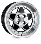 Junk Rejekt wheels 15 x 7.0 & 8.0J 4-100 | Black Polish 2 fronts & 2 wider rears [staggered]