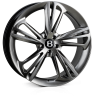 HAWKE Aquila Alloy Wheels 22 inch 5x112 (ET30) | Hyper Black (Dark Silver) x 4 | fits Bentley GT and GTC models