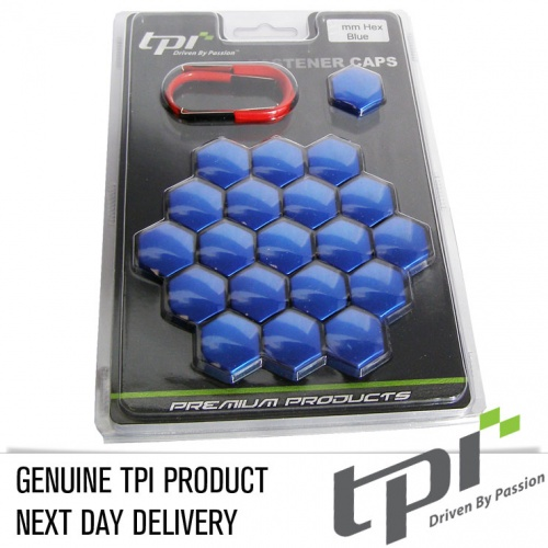 Wheel Nut Covers 17mm Blue TPi x 20