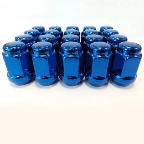 (Set of 10) 12X1.25 19Hex TPi Steel Bulge Acorn Wheel Nut Blue