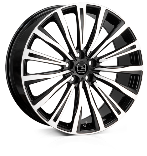 HAWKE Chayton Alloy Wheels 20 inch 5x108 (ET45) | Black Polish x 4 | fits Range Rover Evoque, Velar and Jag F-Pace models