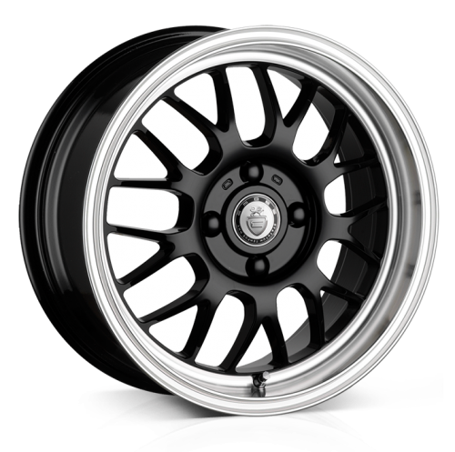 Cades Eros Alloy Wheels 16 inch 4x100 (ET35) | Black lip Polish x 4 | fits Mini, VW, Citroen, E30 3 Series BMW models