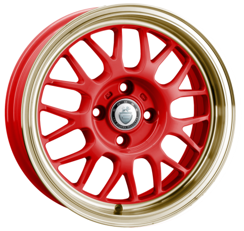 Cades Eros Alloy Wheels 15 inch 4x100 (ET30) | Red/Gold lip x 4 | fits Mini, VW, Citroen, E30 3 Series BMW models