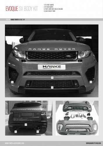 Range Rover Evoque pattern SVR Style Body Kit to fit Evoque 2011 - 2017 (L538 model)