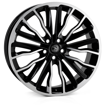 HAWKE Harrier Alloy Wheels 22 inch 5x120 (ET40) | Black Polish x 4 | fits Range Rover Sport, Vogue and Discovery models