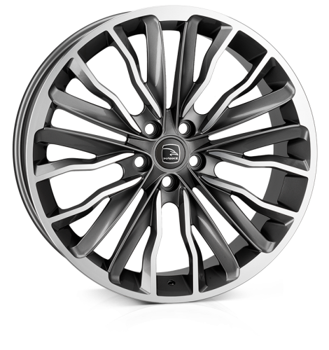 HAWKE Harrier Alloy Wheels 22 inch 5x120 (ET40) | Gunmetal Polish x 4 | fits Range Rover Sport, Vogue and Discovery models