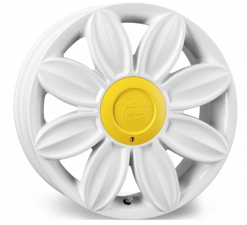 Tansy Daisy Flower Alloy Wheels 16 inch 4x100/108 (ET35) | White x 4 | fits Mini, VW, Citroen, Renault, Ford
