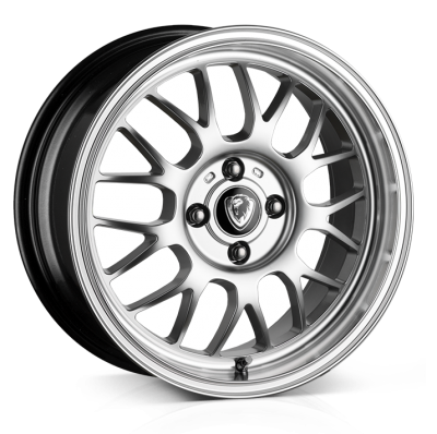 Cades Eros Alloy Wheels 16 inch 4x100 (ET35) | Silver lip Polish x 4 | fits Mini, VW, Citroen, E30 3 Series BMW models