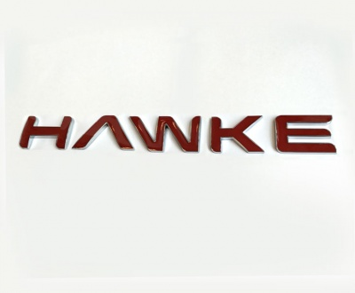 HAWKE Logo Chrome with Red infill Bonnet or Boot/Tailgate Letters
