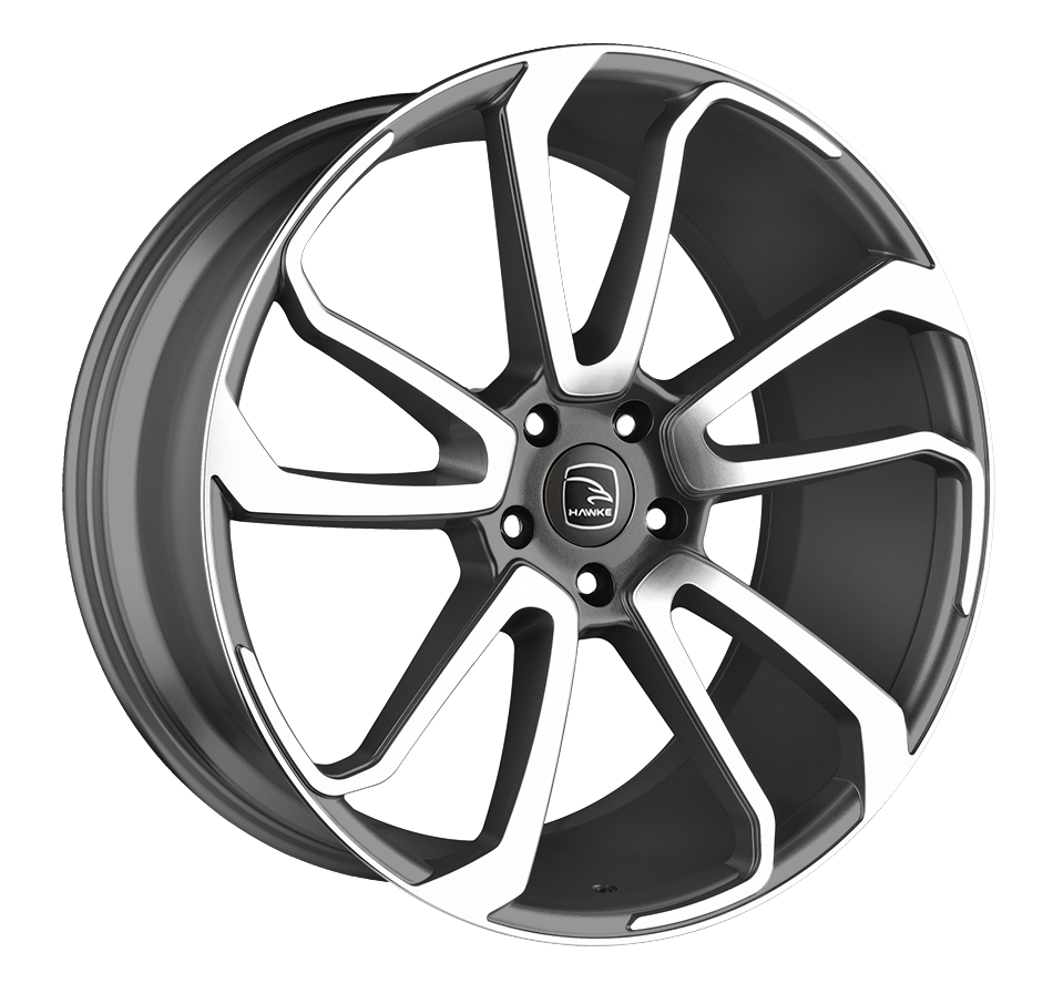 HAWKE Falkon Alloy Wheels 22 inch 5x120 (ET45) | Gunmetal Polish x 4 | fits Range Rover Sport, Vogue and Discovery models