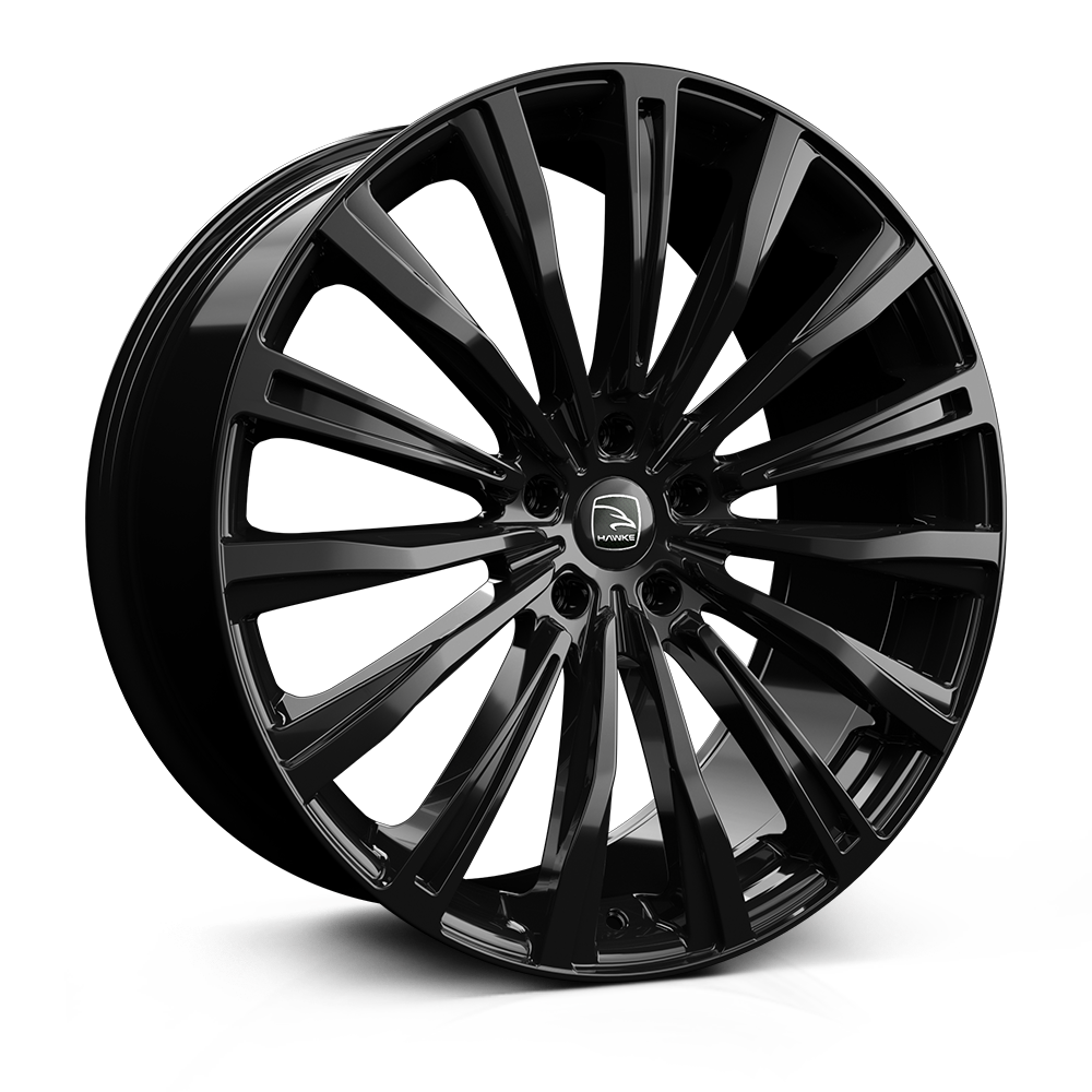 Hawke Chayton Alloy Wheels 22 inch 5x120 (ET38) | Jet Black x 4 | fits Range Rover Sport, Vogue and Discovery models
