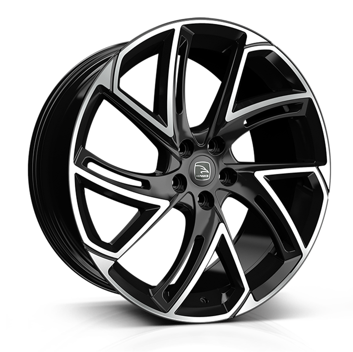 Hawke Condor wheels 22 x 9.5j 5x108 | Black Polish Set of four | fits Volvo X models models