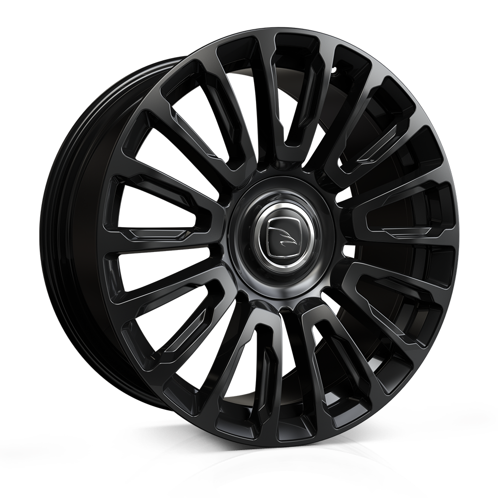 Hawke Dresden wheels 22 x 9.5j 5 x 120 | Jet Black Set of four | fits Range Rover Sport, Vogue and Discovery 5 models. Taper seated to accept aftermarket wheel nuts.