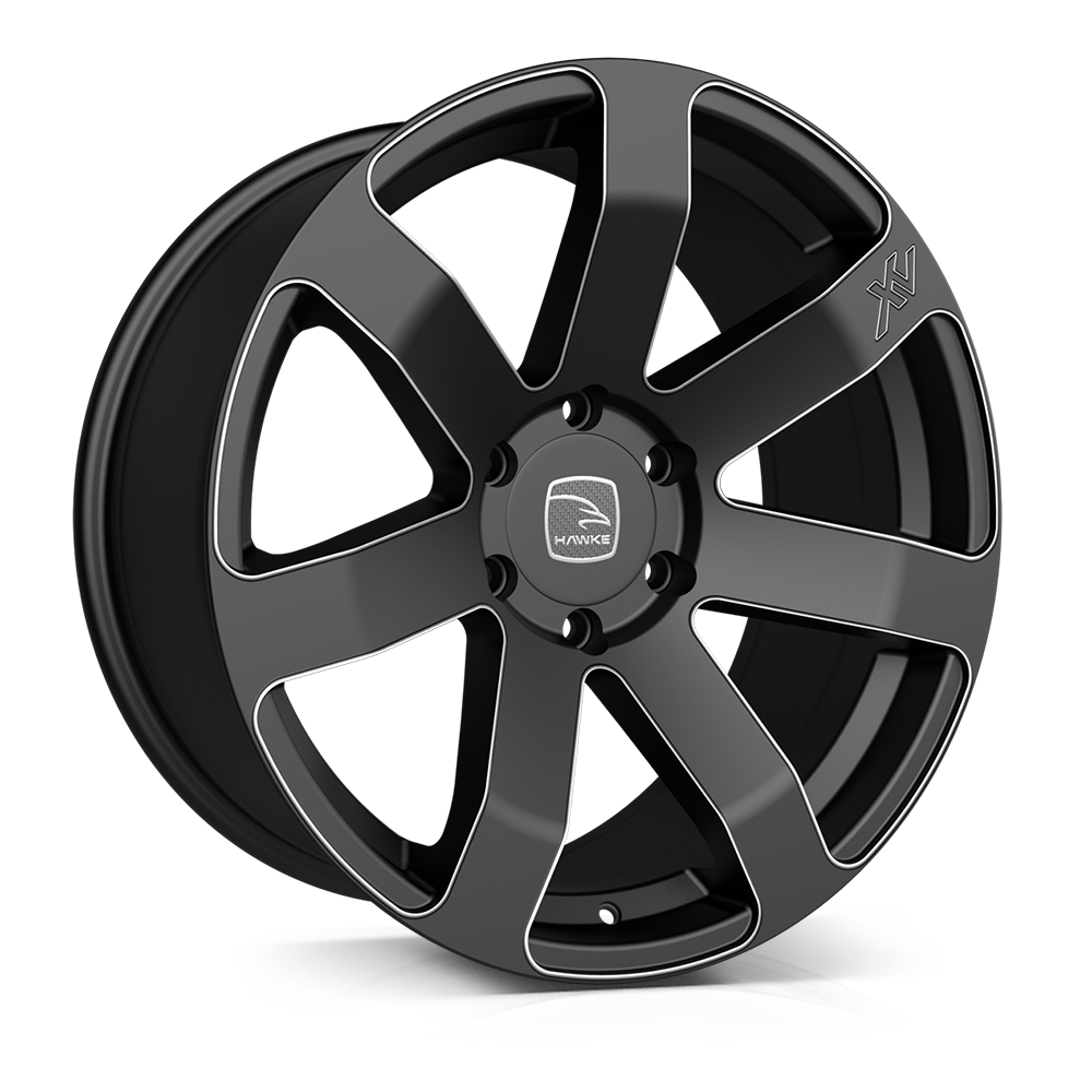 Hawke Summit wheels 20 x 9j 5-120 | Matt Black Accent Set of four | fits Range Rover Sport, Vogue, Discovery