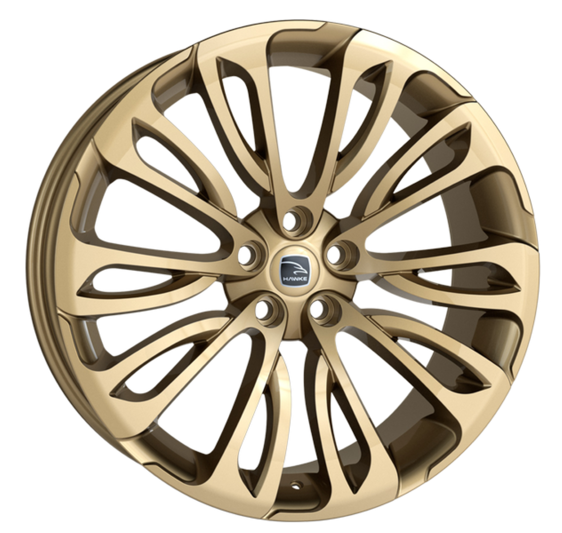 HAWKE Halcyon Alloy Wheels 23 inch 5x120 (ET38) | Light Gold x 4 | fits Range Rover Sport, Vogue and Discovery models