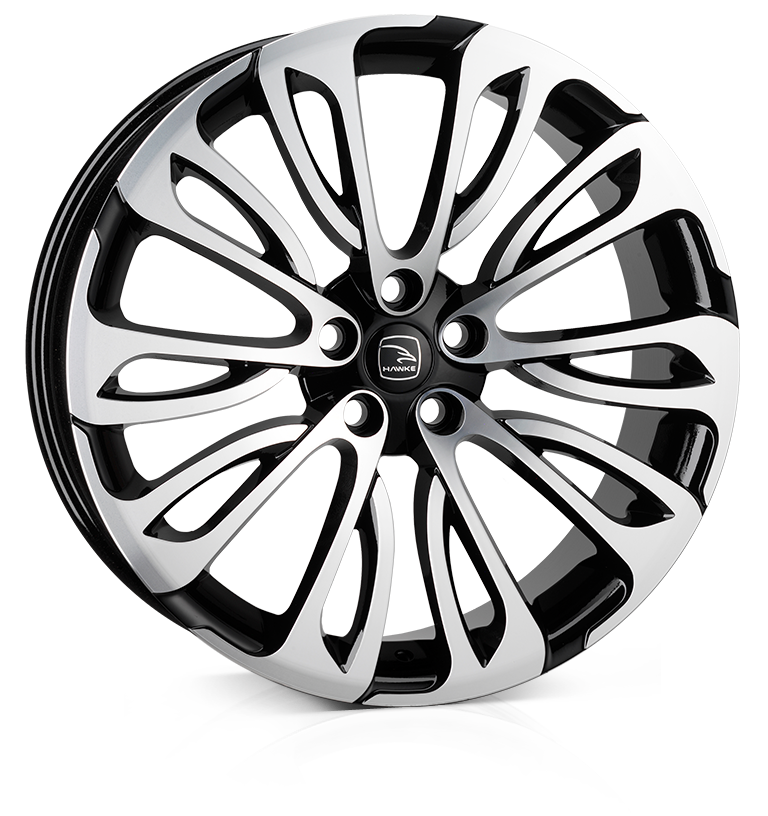 HAWKE Halcyon Alloy Wheels 23 inch 5x120 (ET38) | Black Polish x 4 | fits Range Rover Sport, Vogue and Discovery models
