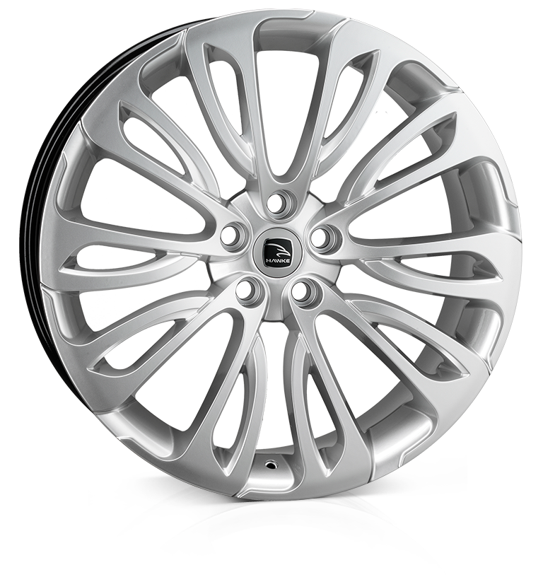 HAWKE Halcyon Alloy Wheels 23 inch 5x120 (ET38) | High Power Silver x 4 | fits Range Rover Sport, Vogue and Discovery models