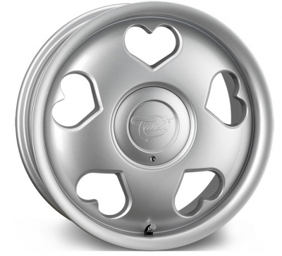 Tansy Love 'Heart' Alloy Wheels 16 inch 4x100/108 (ET35) | Silver x 4 | fits Mini, VW, Citroen, Renault, Ford