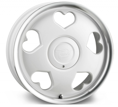 Tansy Love 'Heart' Alloy Wheels 16 inch 4x100/108 (ET35) | White Polish x 4 | fits Mini, VW, Citroen, Renault, Ford