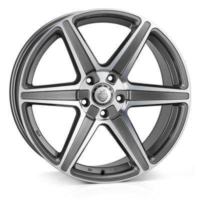 Cades Thor 20 inch wheel finished in Gunmetal Polish; drilled to 5x120 stud pattern