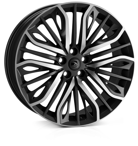 22x9.5 5x108 ET42 HAWKE Vega (Flow Formed) Black Polished