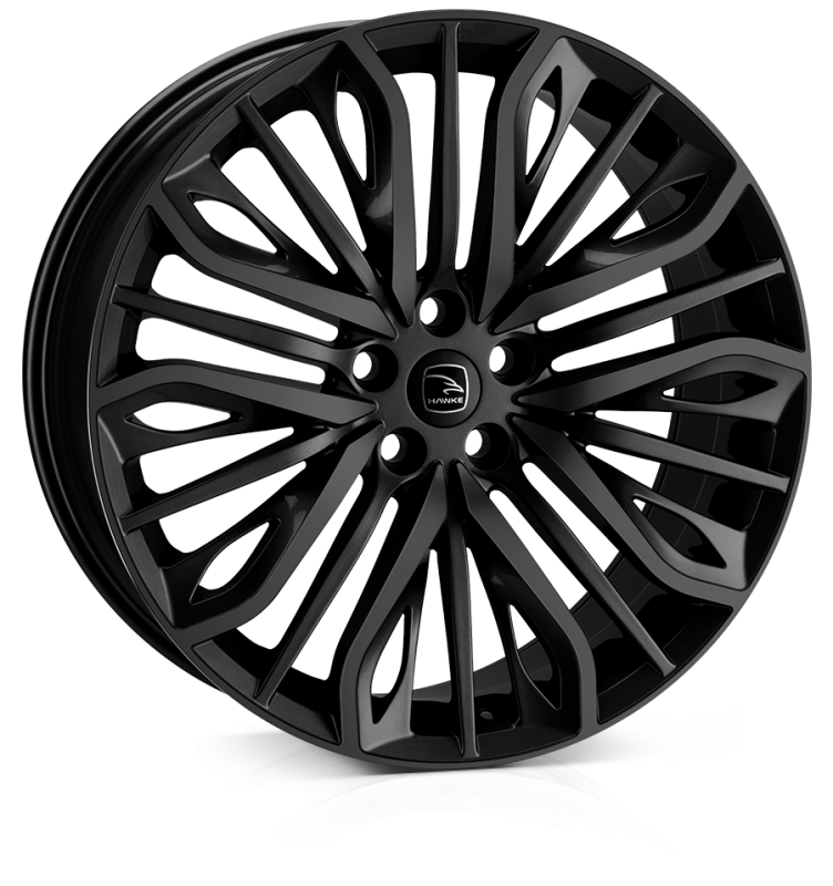 HAWKE Vega Alloy Wheels 22 inch 5x120 (ET35) | Jet Black x 4 | fits Range Rover Sport, Vogue and Discovery models